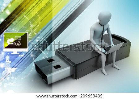 3d man and laptop sitting usb