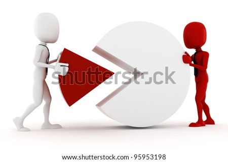 3d man and pie chart, on white background - stock photo