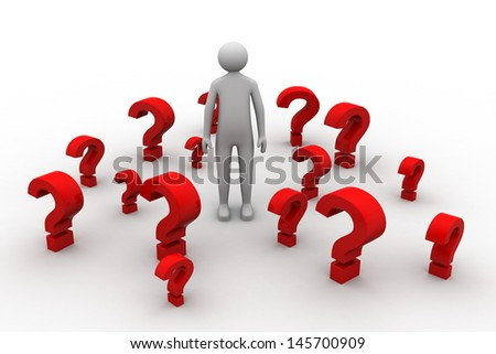 3d man and red question marks on white background