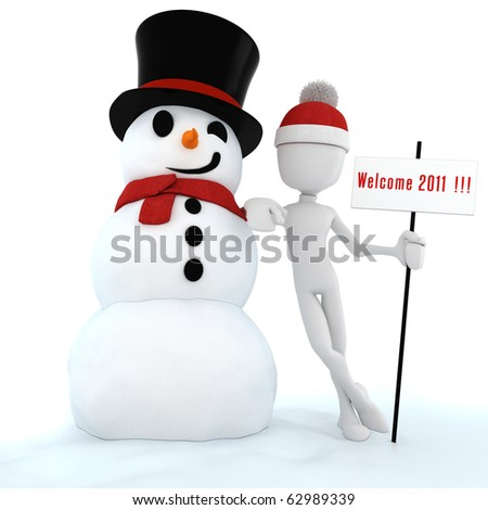 3d man and snow man ,Happy new Year!! - stock photo