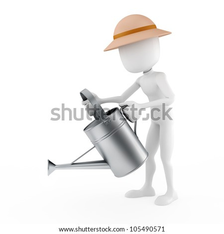 3d man and sprinkler on white background - stock photo