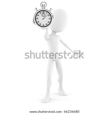 3d man and stopwatch concept - stock photo