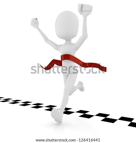 3d man athlete competition, on white background
