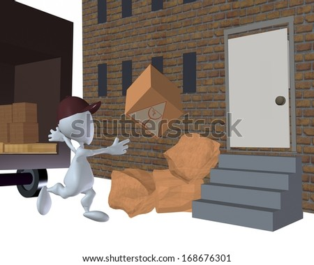 3d man bad delivery of boxed goods - stock photo