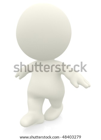3D man balancing isolated over white