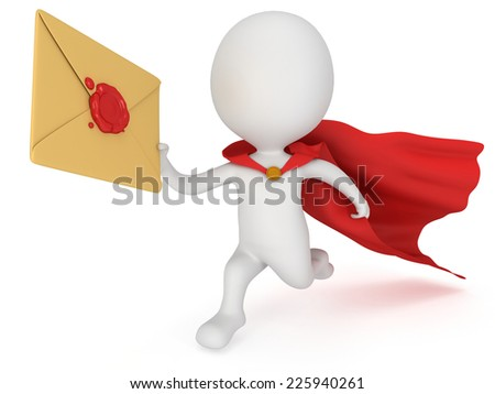 3d man brave superhero with red cloak and mail envelope with red wax seal. Render isolated on white. E-mail, message, communication fast delivery concept. - stock photo