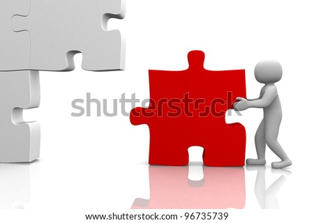 3d man building a 3d puzzle. This is a 3d render illustration - stock photo