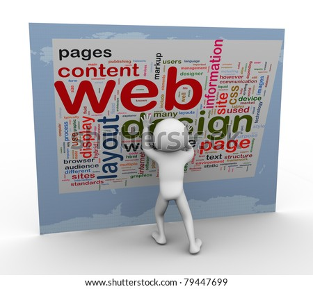 3d man building web design. Words related to web designing. - stock photo