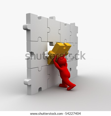 3D man builds puzzle - the final piece - stock photo