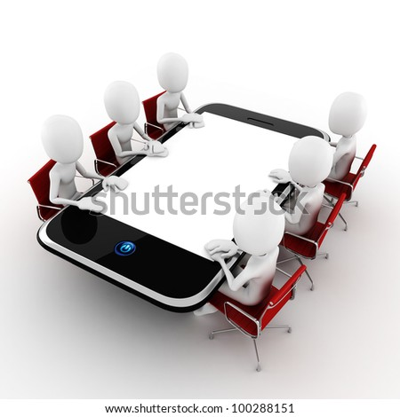 3d man business conference concept, on white background - stock photo