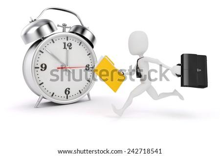3d man business man and alarm clock - stock photo