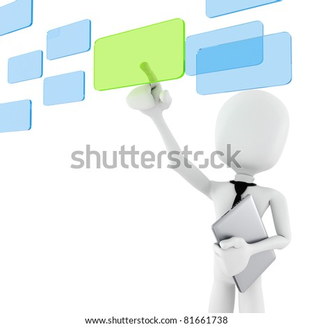 3d man business man making choice, on white background - stock photo