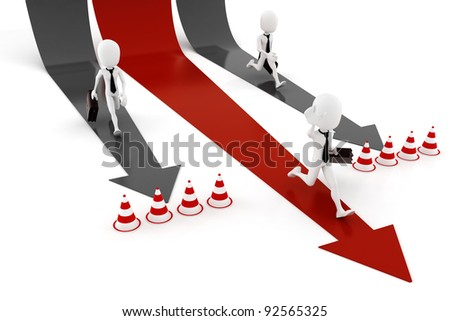 3d man business man running on colorful arrows - stock photo