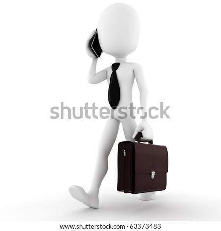3d man business man, talking at his new smart phone - stock photo