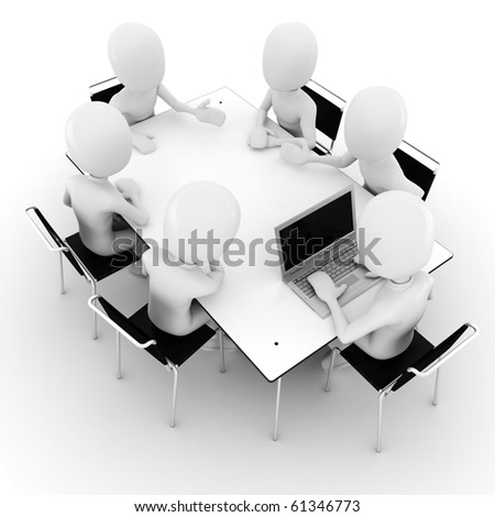 3d man, business meeting, isolated on white - stock photo