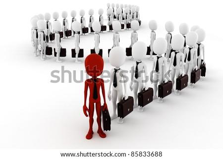 3d man business men following the leader - stock photo
