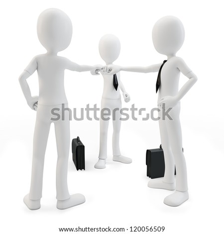 3d man business team joining hands on white background