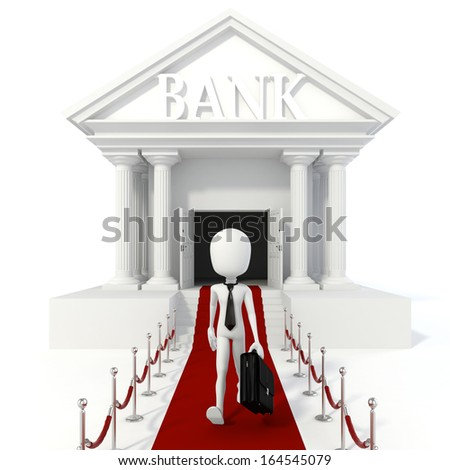 3d man businessman and bank building - stock photo