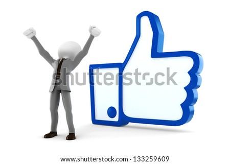 3d man businessman and like symbol on white background - stock photo