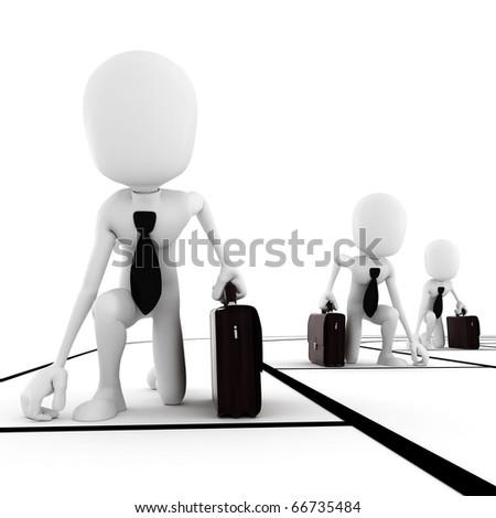 3d man businessman competition - stock photo