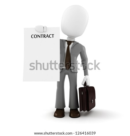 3d man businessman  holding a new contract paper, on white background - stock photo