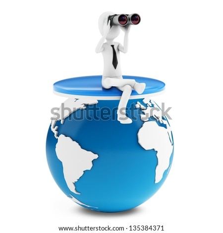 3d man businessman holding binoculars looking for global opportunities on white background - stock photo