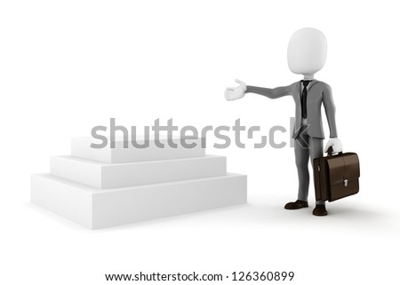 3d man businessman presenting somne new stuff