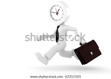3d man,  businessman running out of time - stock photo