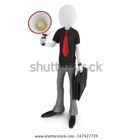 3d man businessman with a megaphone isolated on white background
