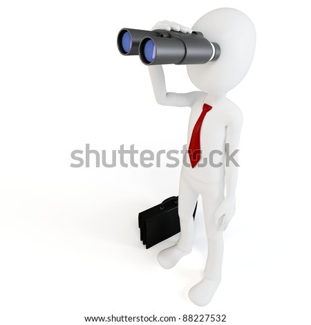 3d man businessman with binoculars on white background - stock photo