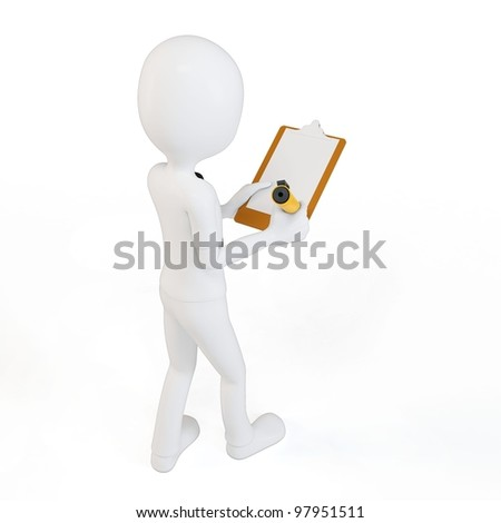 3d man businessman with clipboard and pen on white background - stock photo