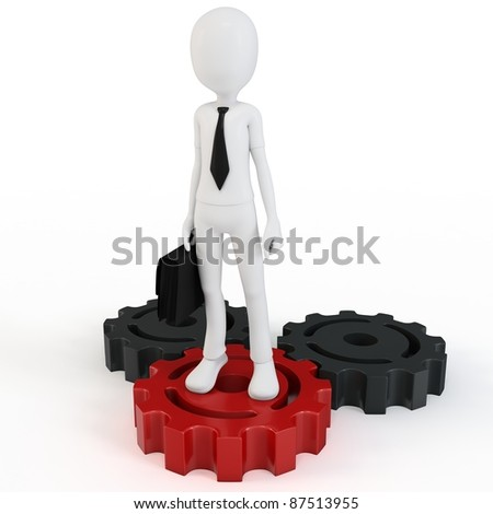 3d man businessman with gears on white background - stock photo