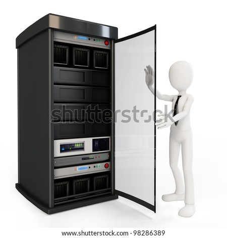 3d man businessman with server rack on white background