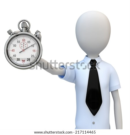 3d man businessman with stopwatch on white background - stock photo