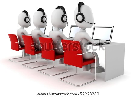 3d man, call-center - stock photo