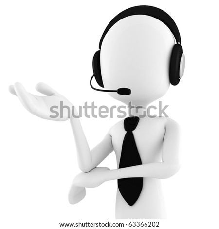 3d man call center offering support - stock photo