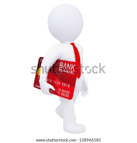3d man carries a credit card. Isolated render on a white background