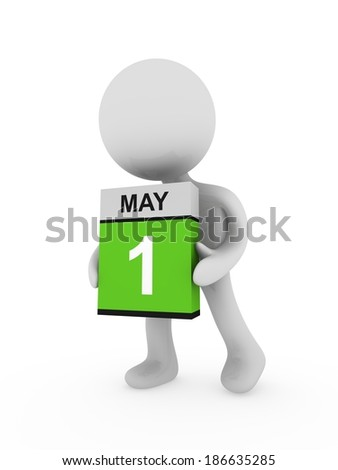 3d man carry a box with May month - stock photo