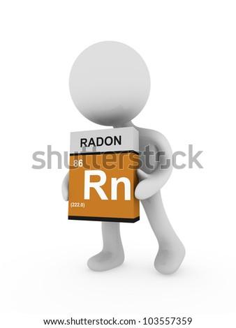 3d man carry a radon box - stock photo