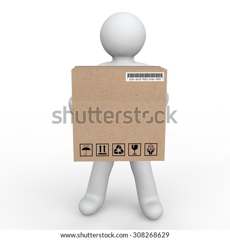3d man carrying a delivery box - stock photo