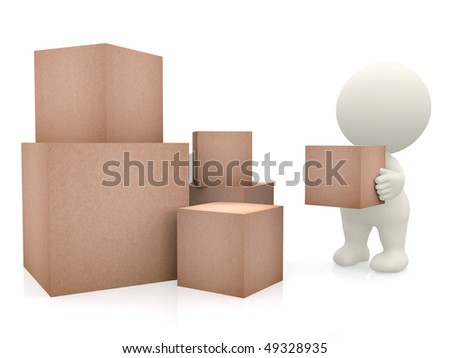 3D man carrying boxes to a pile isolated over white - stock photo