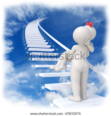 3d man carrying his lady up to the sky on stairs with shiny stars - stock photo