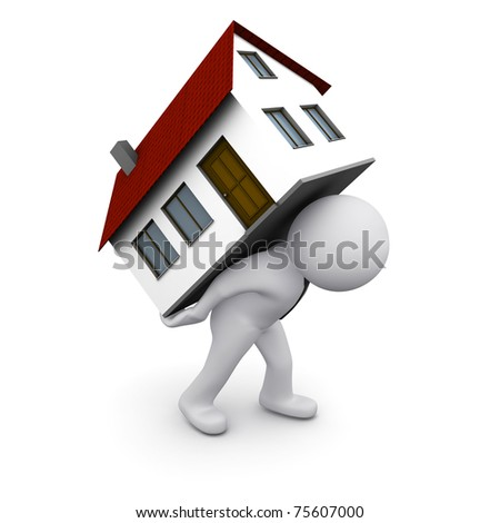 3D man carrying house on his back - stock photo
