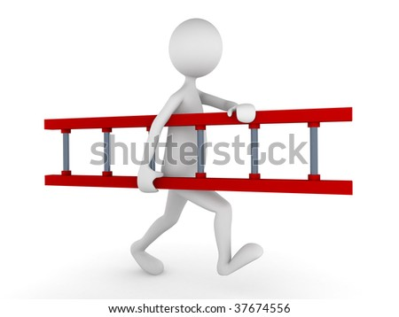 3D man carrying red ladder; great concept for working environment or business relations - stock photo