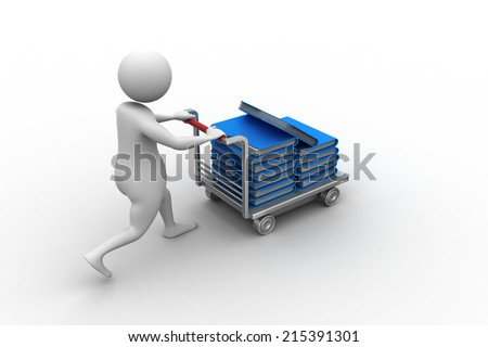 3d man carrying the file in trolley - stock photo