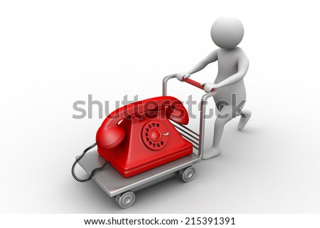 3d man carrying the old telephone in trolley - stock photo