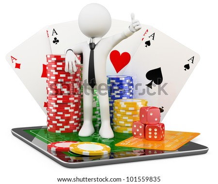 3D Man - Casino online games. Rendered at high resolution on a white background with diffuse shadows. - stock photo
