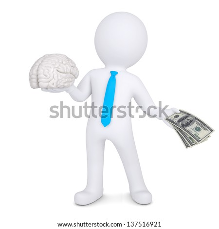 3d man changes the brain for money. Isolated render on a white background - stock photo