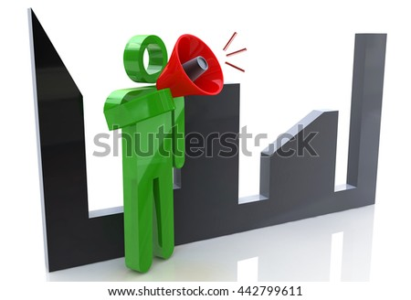 3d man character talking in a megaphone with cityscape on the background in the design of information related to communication and business. 3d illustration - stock photo
