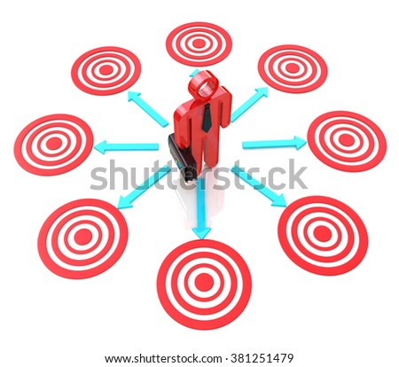 3d man chooses a target for the design of the information related to the business objectives - stock photo